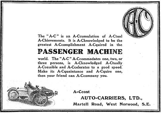 A.C. Cars - AC Three Wheeler Car 1910