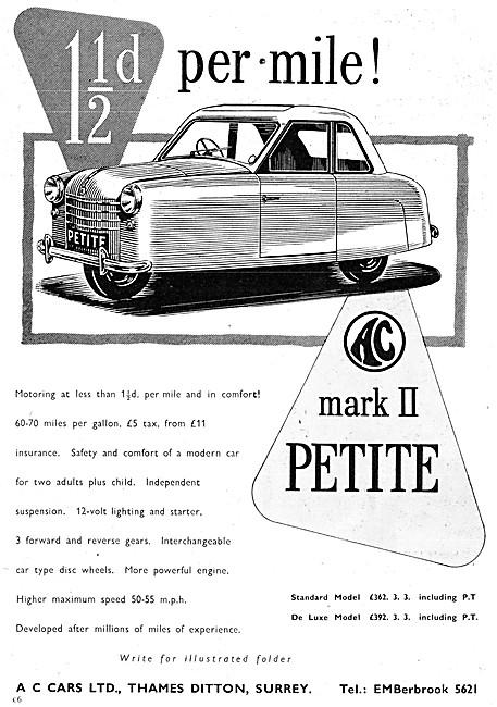 A.C. Petite Mark II - AC Petite Three Wheeler