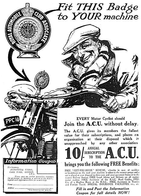 A.C.U - The Auto-Cycle Union - ACU 1919 Advert