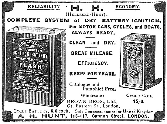 A.H.Hunt Hellesens Motor Cycle Ignition Battery