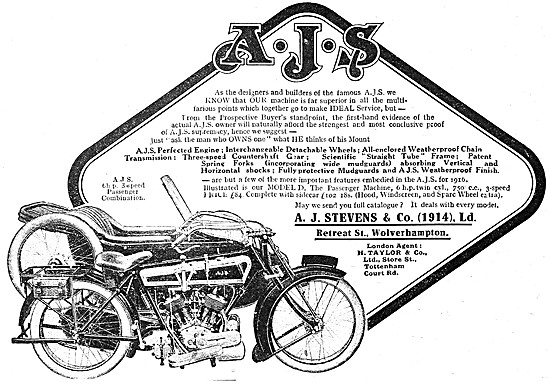 1915 AJS 6 hp Motor Cycle Combination