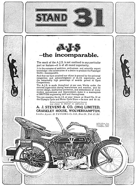 A.J.S. 6 hp Motor Cycles Combination  1919