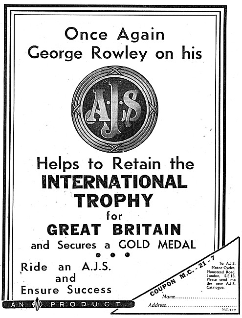 AJS Motor Cycles 1938