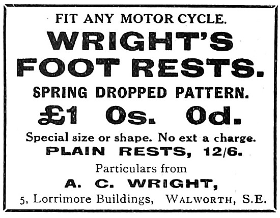 Wright Motorcycle Foot Rests