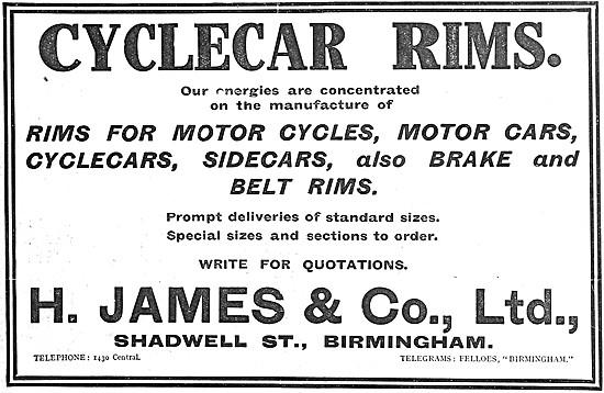 James Motor Cycle & Cyclecar Rims