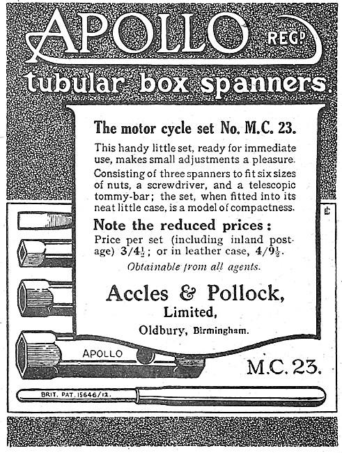 Accles & Pollock Tubular Box Spanners 1921
