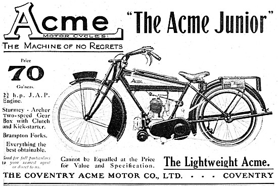 The Acme J.A.P. Junior Motor Cycle 1921
