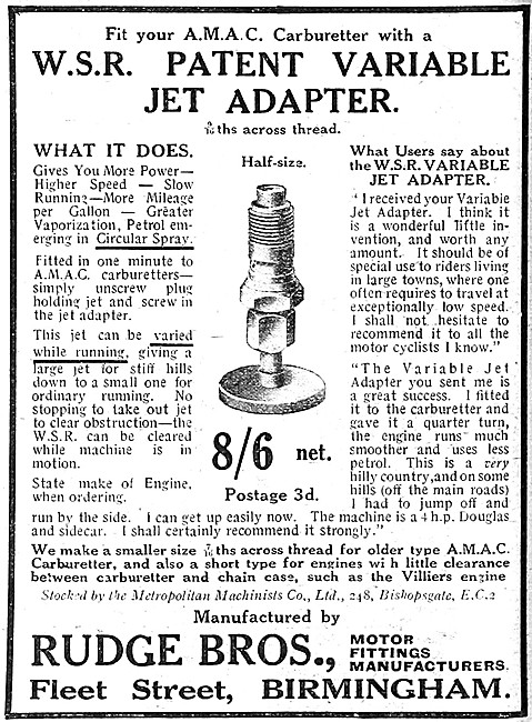 Rudge W.S.R. Patent Variable Jet Adapter For AMAC Carburetters