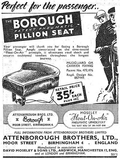 Borough Motorcycle Seats - Moseley Float-On-Air Cushions