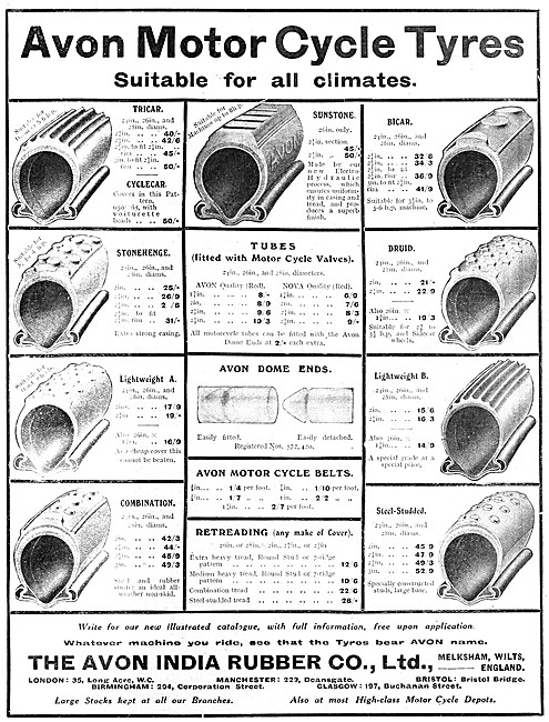 1912 Avon Motor Cycle Tyre Chart & Specifications