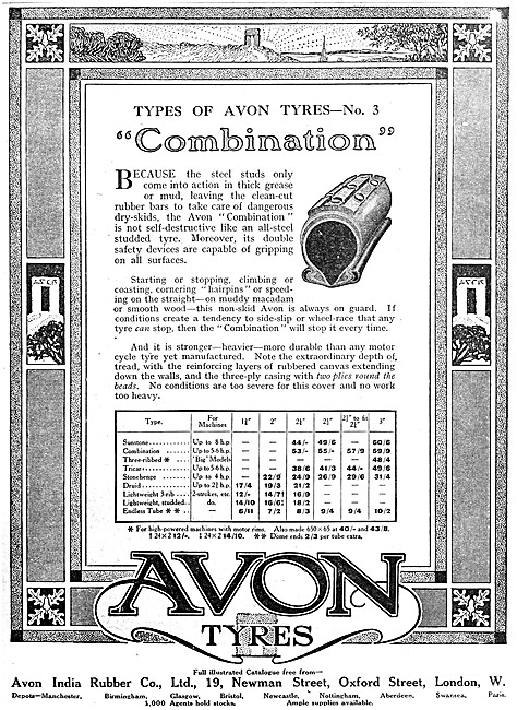 Avon Motorcycle Tyres - Avon Combination Motor Cycle Tyres 1916