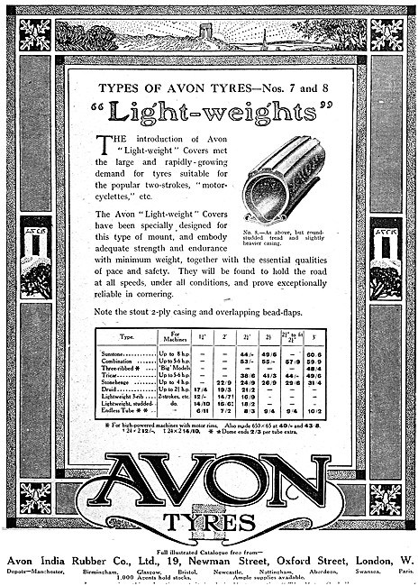 Avon Motorcycle Tyres - Avon Lightweights Motor Cycle Tyres 1916