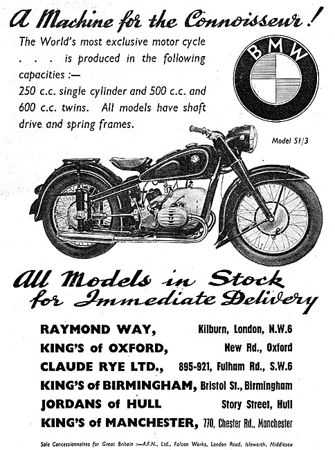 BMW 51/3 Motor Cycles 1951