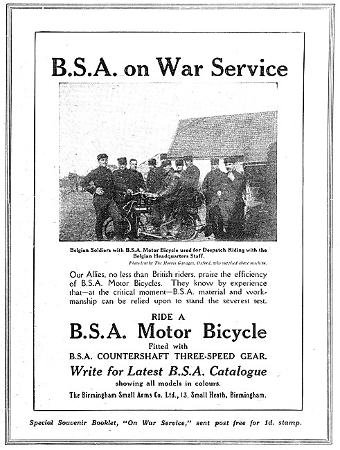 WW1 BSA Military Motorcycles