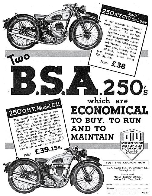 BSA C10 250 cc SV - BSA C11 250 cc OHV 1939