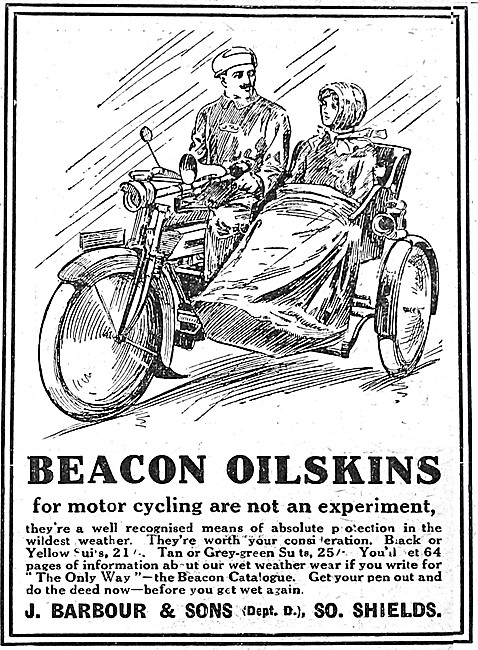 Barbour Suits For Motorcyclists - Barbour Oilskins 1912 Advert