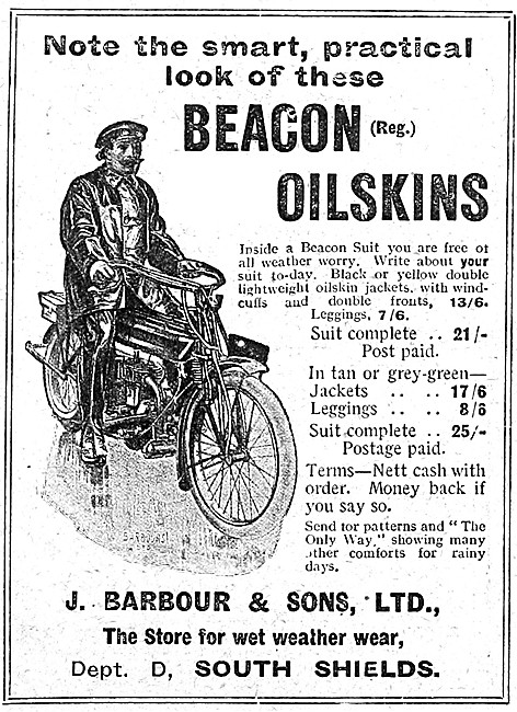 Barbour Beacon Oilskins For Motorcyclists.