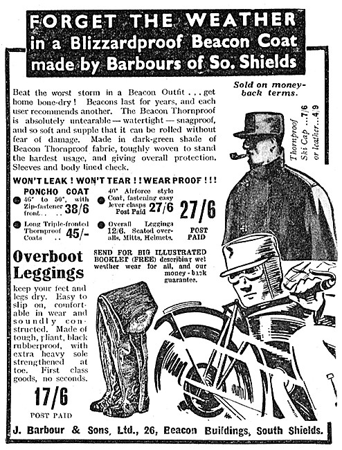 Barbour Blizzardproof Beacon Coat For Motorcyclists 1936