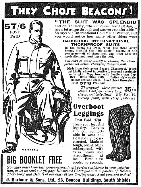 Barbour Suits For Motorcyclists - Barbour Jackets 1938