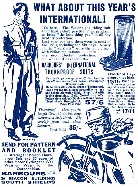 Barbour Suits For Motor Cyclists - Barbour Thornproof Suits