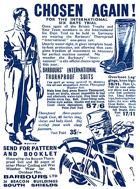 Barbour Suits  - Barbours International Thornproof Suits 1939