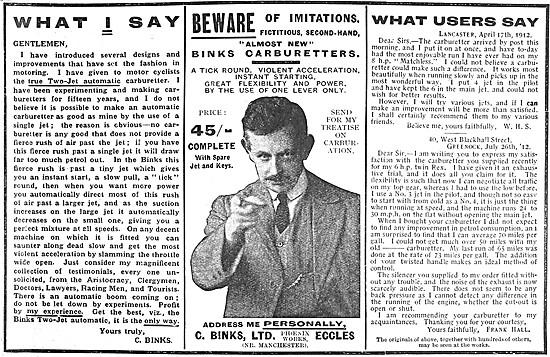 Binks Carburetters 1912 Advert
