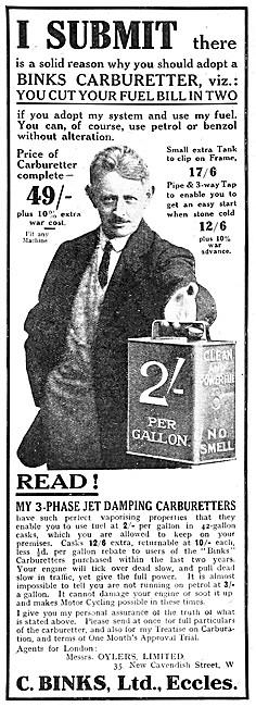 Binks Carburetters 1917 Advert