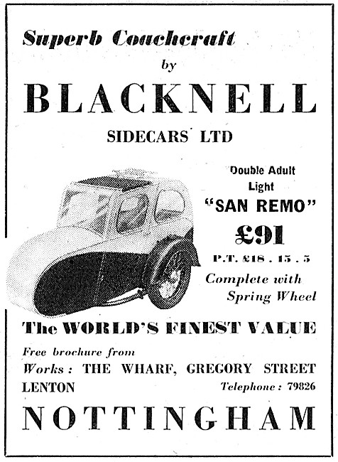Blacknell Sidecars  - Blacknell San Remo Double Adult Sidecar