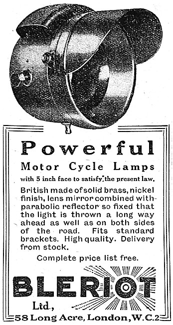 Bleriot Motor Cycle Lamps
