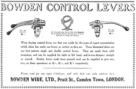Bowden Motor Cycle Control Levers 1912
