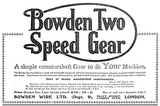 Bowden Two Speed Gear Assembly For Motor Cycles 1912
