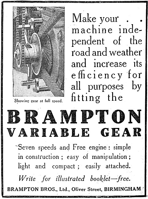 Brampton Motor Cycle Variable Gear & Free Assembly 1912