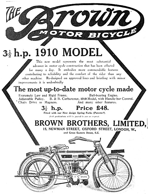 Brown Brothers The 1910 Brown Motor Cycle - The Brown Motor Cycle