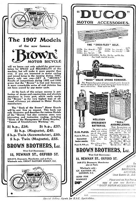 1907 Brown Brothers Motor Cycles & DUCO Motor  Accessories