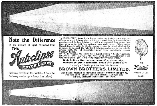 Brown Brothers Autoclipse Motore Cycle Lamps 1908 Advert