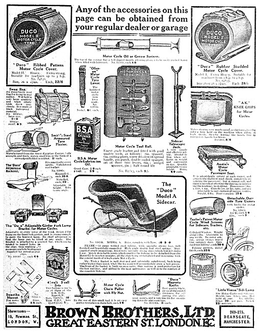 Brown Brothers Motor Cycle Accessories 1912