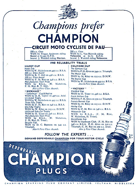 Champion Motor Cycle Spark Plugs