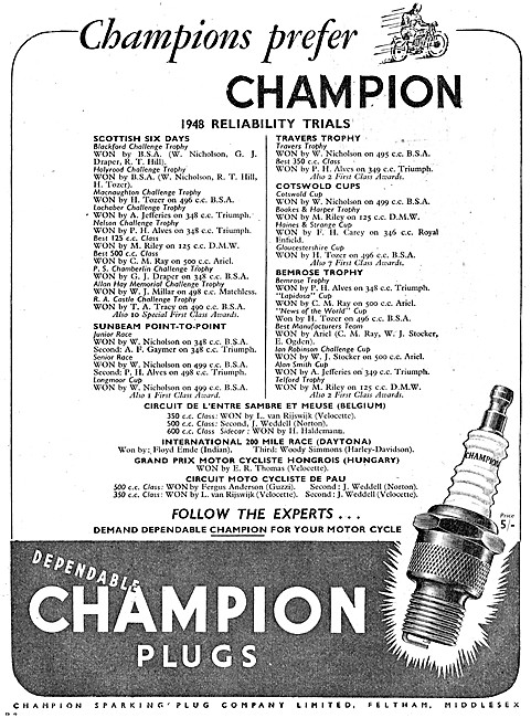 Champion Motorcycle Spark Plugs
