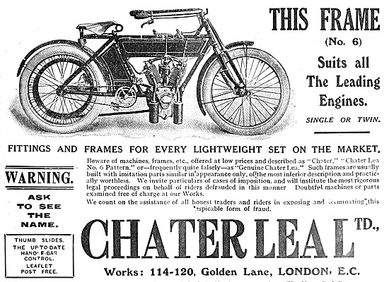 Chater Lea Motor Cycles - 1908 Chater Lea No 6 Pattern Frame
