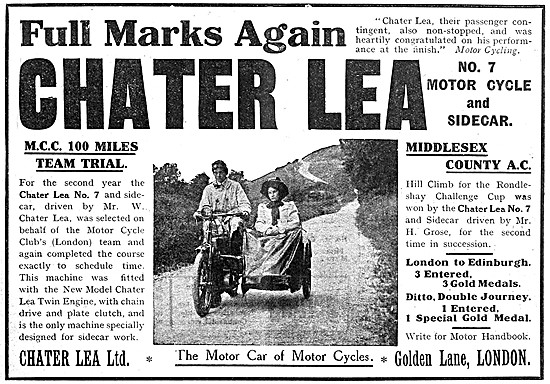 Chater Lea Motor Cycles - Chater Lea No. 7 Motor Cycle & Sidecar