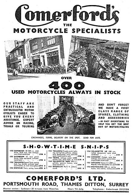 Comerfords Motor Cycle Sales & Service - Thames Ditton Surrey