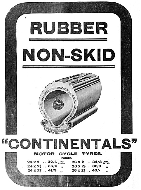 Continental Motorcycle Tyres 1908 Advert