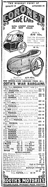 Booths Motories Coronet Sidecars 1914