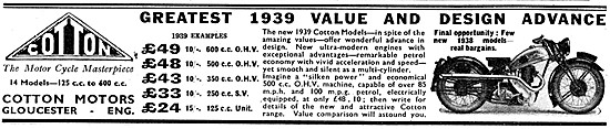 Cotton Motor Cycles 1939 Models