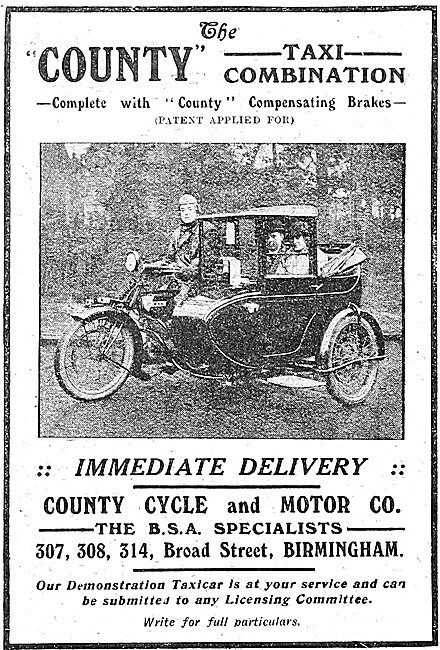 County Motor Cyle Taxi Combinations - BSA Taxi Combinations