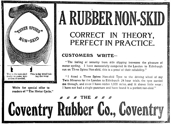 Coventry Rubber Three Spires Motor Cycle Tyres