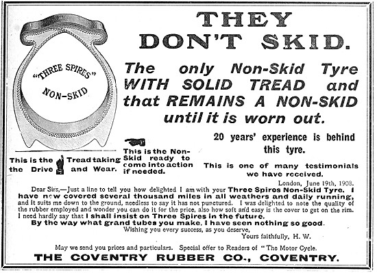 Coventry Rubber Three Spires Non-Skid Motor Cycle Tyres