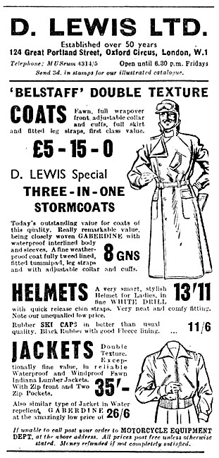 Lewis Leathers - D.Lewis Motor Cycle Cothing