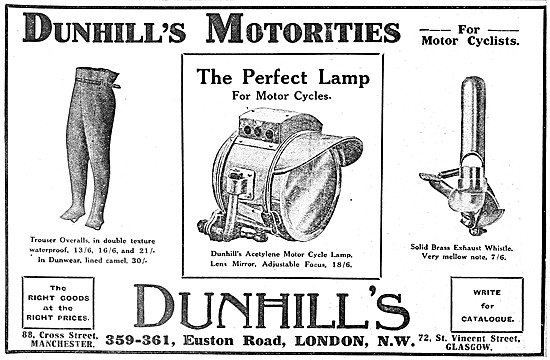 Dunhills Motor Cycle Clothing & Accessories 1911