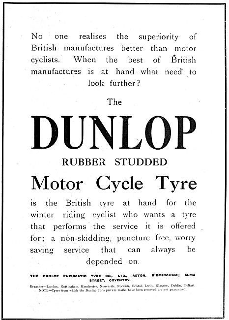 Dunlop Rubber Studded Motor Cycle Tyres